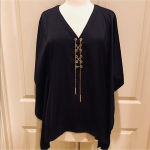 Michael Kors Navy blouse with gold tie size S/M
